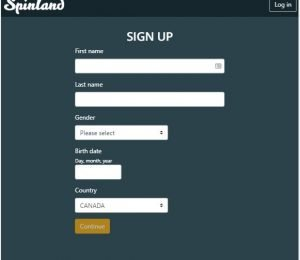 Spinland sign up page