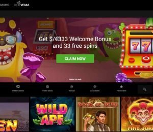 GoWild Casino home screen