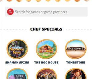 Casino Calzone games menu