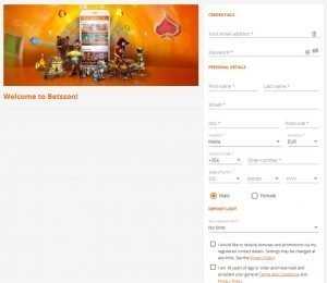 Betsson sign up page