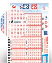 Canadian Lotteries Lotto 649 ticket
