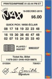 Canadian Lotteries - Lotto Max Ticket