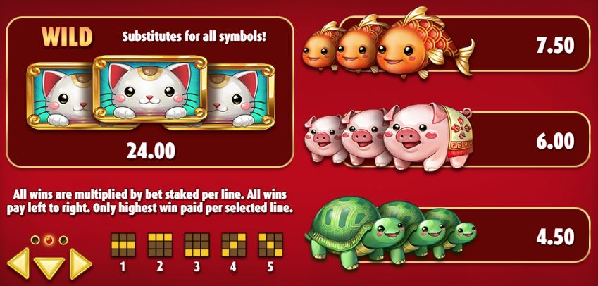 Big Win Cat Slot Paytable