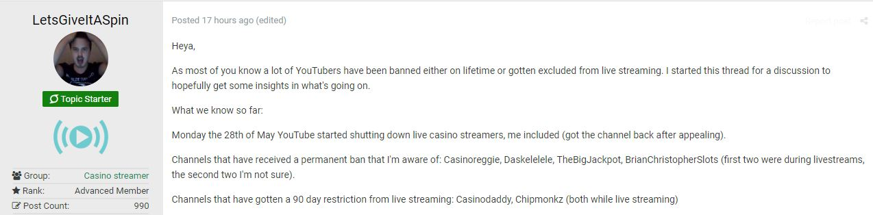 Casino Streamers Officially Banned from YouTube - casino ground post