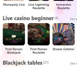 Dreamz Casino live casino tables