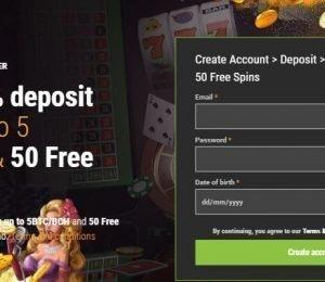 Cloudbet welcome bonus and login screen