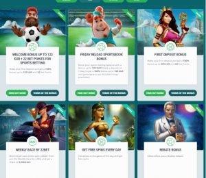22 Bet bonuses and prizes
