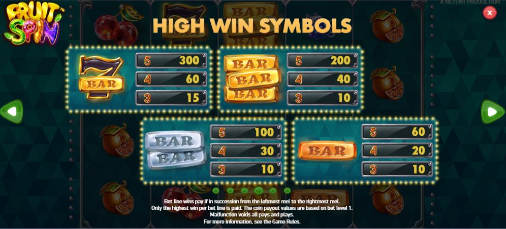 Fruit Spin Slot - Paytable