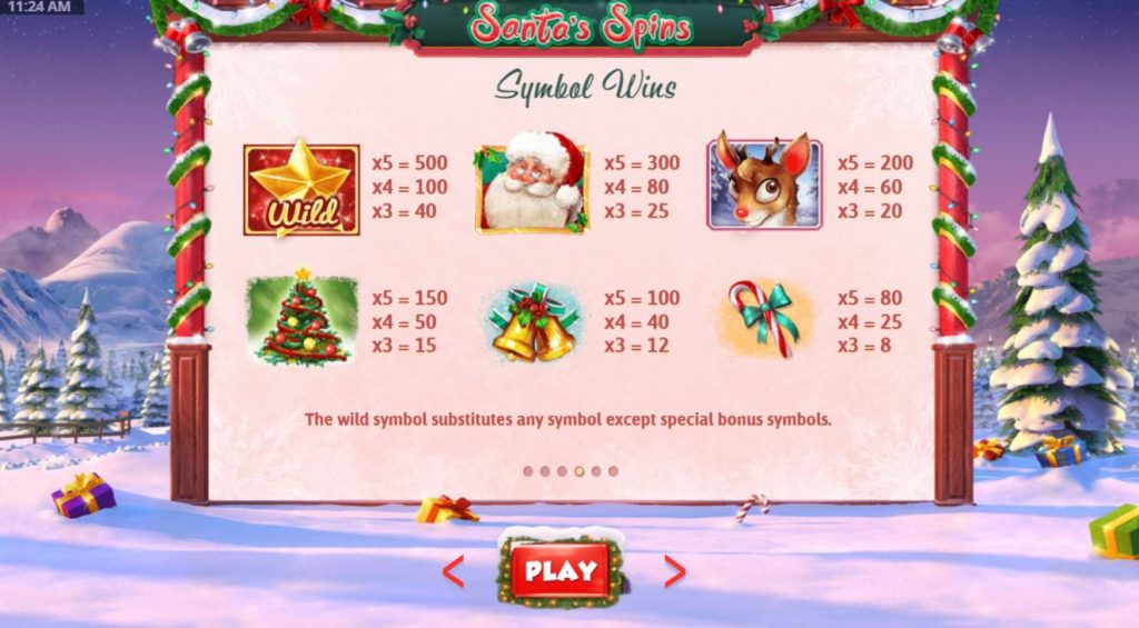santas spins payout