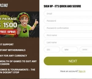 Bob Casino sign up page
