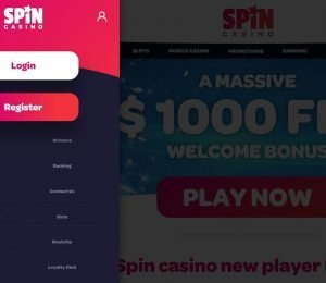 Spin Casino Menu - Sign Up