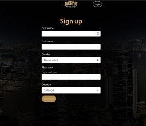 Jackpot Village sign up page