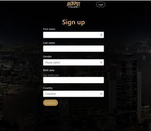 Jackpot Village sign up page