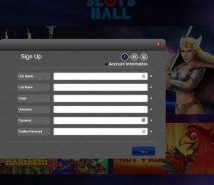 Slots Hall sign up page
