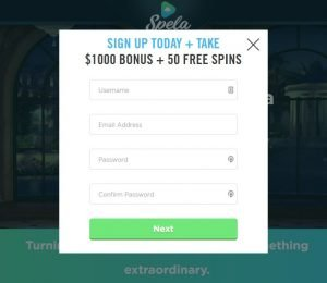 Spela Casino - Sign Up Screenshot