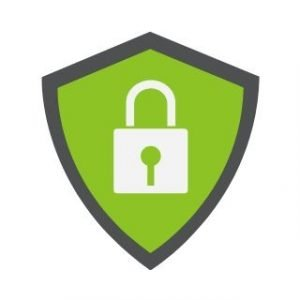 Safety shield green background with grey lock