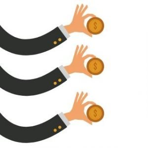 Three arms each holding a coin