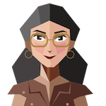 Geraldine icon female with dark hair and glasses