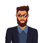 Tim icon of dark-haired tan bearded male wearing sunglasses