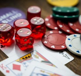 Casino chips, cards and dice