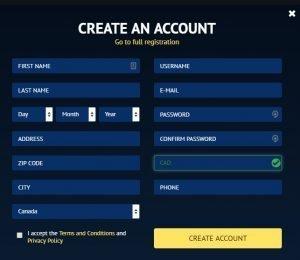 Viggoslots create an account screenshot