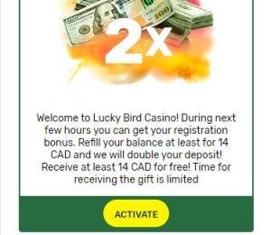 LuckyBird Casino Promotions Screenshot