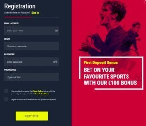 Rabona Casino registration screenshot