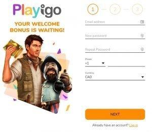 playigo sign up page