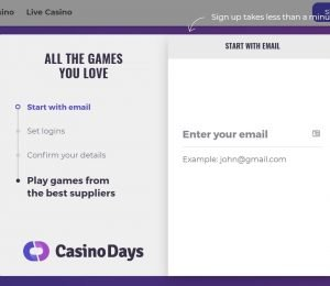 Casino Days sign up page-min
