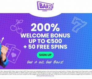 barz casino welcome bonus banner